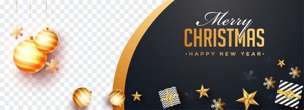 Top view of Merry Christmas and Happy New Year website banner de
