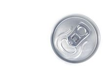 Top of view of metal aluminum beverage drink can Royalty Free Stock Images