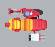 Top view of metallic red dental unit equipment with colorful chair, frosted glass partition Royalty Free Stock Images
