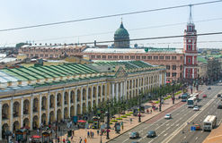 Top view of the Metro and mall Gostiny Dvor on Nevsky Prospect. ST.PETERSBURG, RUSSIA - JUN 26: Top view of the Metro and mall Gostiny Dvor on Nevsky Prospect Stock Images