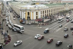 Top view of the Metro and mall Gostiny Dvor on Nevsky Prospect. Royalty Free Stock Photos