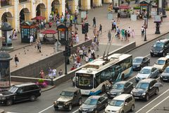 Top view of Metro and mall Gostiny Dvor on Nevsky Prospect in StPeterburg Stock Images