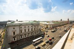 Top view of Metro and mall Gostiny Dvor on Nevsky Prospect in StPeterburg Royalty Free Stock Photo