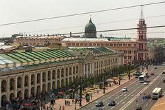 Top view of Metro and mall Gostiny Dvor on Nevsky Prospect in StPeterburg Royalty Free Stock Photos