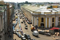 Top view of Metro and mall Gostiny Dvor on Nevsky Prospect in StPeterburg Stock Image