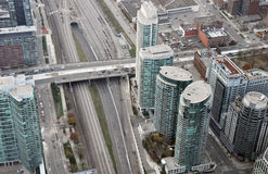 Top view of the metro. View on the streets of Toronto City, Ontario province, Canada. The photo was taken in November 2013 Royalty Free Stock Photography