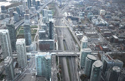 Top view of the metro. View on the streets of Toronto City, Ontario province, Canada. The photo was taken in November 2013 stock photos