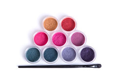 Top view of mineral eye shadows and brush Stock Photo