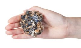 Top view of mineral ore on female palm Stock Images