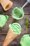 Top view mint ice cream cone Stock Image