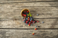 Top view of mixed berry fruits scattering out of wooden bowl Stock Images
