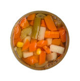 Top view of mixed vegetables in an opened can Stock Image
