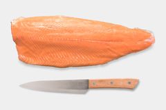 Top view of mockup fresh salmon and knife set isolated on white. Background. Clipping Path included on white background Stock Photography