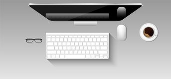 Top view mockup of graphic designer workplace., Mouse, Keyboard,. Monitor, Vector design Royalty Free Stock Photography