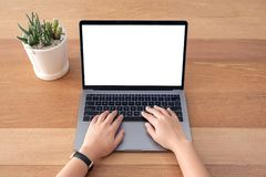 A woman using and typing on laptop with blank white screen on wooden table stock image