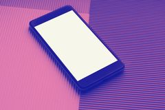 Top view mockup smartphone against trendy multicolor background royalty free stock photos