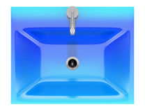 Top view of modern blue glass bathroom sink isolated on white Stock Photography