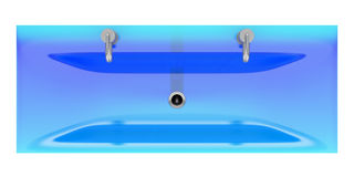 Top view of modern blue glass double bathroom sink isolated Royalty Free Stock Photo