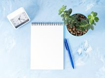 Top view of modern bright blue office desktop with notepad, clock, flower succulent. Mock up, empty space. Top view of modern bright blue office desktop with royalty free stock photo
