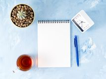 Top view of modern bright blue office desktop with notepad, clock, flower succulent. Mock up, empty space. Top view of modern bright blue office desktop with stock images