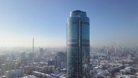 Top view of the modern city in winter. Beautiful Sunny day in the big city with a skyscraper in the winter Stock Photography
