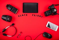 Top view of modern devices ready for sale on Black Friday Stock Photos