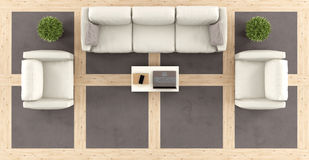 Top view of a modern living room Stock Images