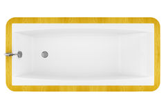 Top view of modern wooden bathtub isolated on white Stock Photography