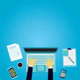 Top View of Modern Work Desk Stock Photography
