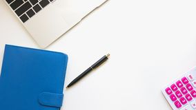 Top view of modern work space office desk table royalty free stock photos