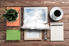 Concept of modern business workplace. royalty free stock photo