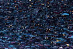 Top view monastery at Larung gar Buddhist Academy in sunset time. Sichuan, China Stock Image