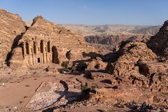 Top view of The Monastery in Petra ancient city, one of seven wonders in the world, Jordan. Middle east, Asia stock image
