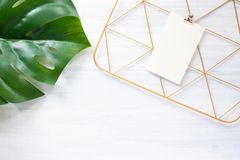 Top view monstera leaf and copper clip board frame with note paper on white wood table.summer vacation background.  stock photo