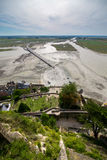 Top view on Mont Saint-Michel bay at low tide in september, France Stock Photos