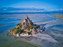 Top view of the Mont Saint Michel Bay, Normandy France. Aerial drone bird`s eye view photo royalty free stock images