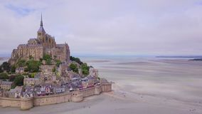 Top view of the Mont Saint Michel Bay, Normandy France stock video footage