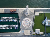 Top View of Monument to the Discoveries and the Mosaic Map, Lisbon, Portugal Royalty Free Stock Image