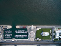 Top View of Monument to the Discoveries and the Mosaic Map, Lisbon, Portugal Stock Photos