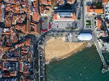 Top View of Mosaic and Beach, Cascais, Portugal Royalty Free Stock Photo
