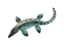 Top view Mosasaurus toy on white. Background stock photo