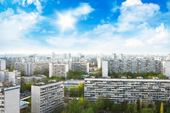 Top view of Moscow city skyline on sunny day Stock Images
