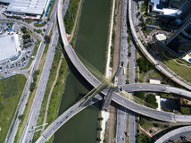 Top view of the most famous bridge in the city of Sao Paulo, Brazil Royalty Free Stock Photo