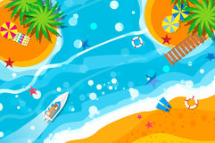Top view motor yacht. Beach rest. Holidays. Summer vacation. Time to travel. Sea, waves, sand and umbrella, palm. Vector design background and objects stock illustration
