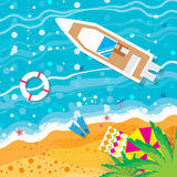 Top view motor yacht.  Beach rest. Royalty Free Stock Photo