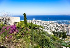 The view over the Bahai gardens in Haifa royalty free stock images