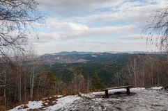 Top view mountain forest snow bench Royalty Free Stock Photo