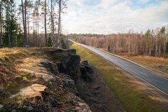 Top view from the mountain on the highway A-121 Sortavala in Karelia. Russia. Autumn landscape highway A-121 Sortavala in Karelia. Russia royalty free stock images