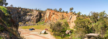 Top view on a Mountain Quarry site in Greenmount National park. Western Australia stock photo