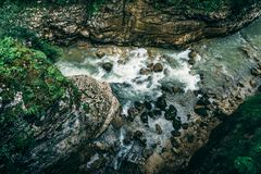 Top view of mountain river gorge stock photos